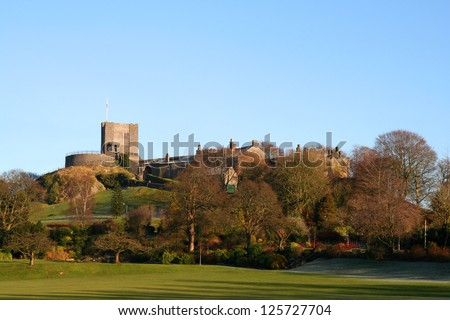 The Historic Norman Castle at Clitheroe, Lancashire, showing the ancient Keep, Motte and Bailey. - stock photo