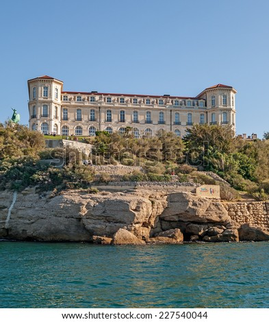 """The historic palace """"Villa Pharo"""" of Marseille in South France during a summer evening - stock photo"""