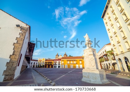 The historic Plaza de la Aduana in the colonial center of Cartagena, Colombia - stock photo