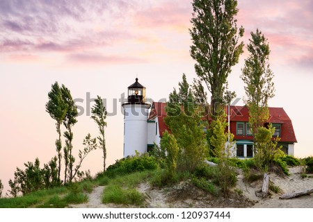 The Historic Point Betsie Lighthouse Just After Sunrise Along Lake Michigan  And Just to The South Of The Sleeping Bear Dunes, Michigan's Lower Peninsula, USA - stock photo