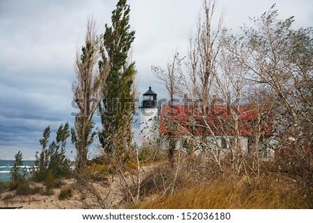 The Historic Point Betsie Lighthouse On An Overcast Lake Michigan Morning, Michigan's Lower Peninsula, USA - stock photo