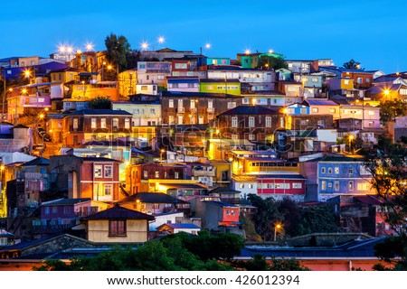 The historic quarter of Valparaiso in Chile at night - stock photo