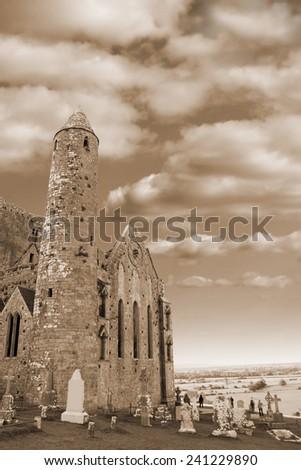 the historic rock of Cashel landmark in county Tipperary Ireland in sepia - stock photo