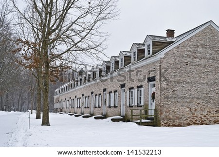 The historic row home living quarters of the workers in The Historic Allaire Village in New Jersey.