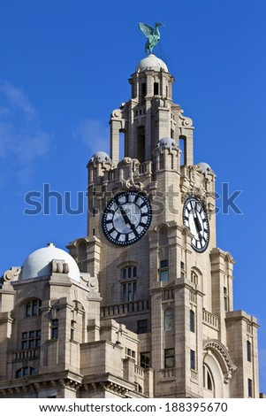 The historic Royal Liver Building in Liverpool, England. - stock photo