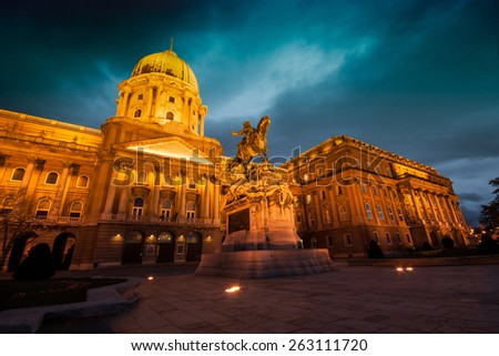 The historic Royal Palace - Buda Castle - History Museum in Budapest - Hungary - stock photo