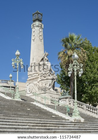 "The historic stairway at the main station ""Saint Charles"" of Marseille in South France"