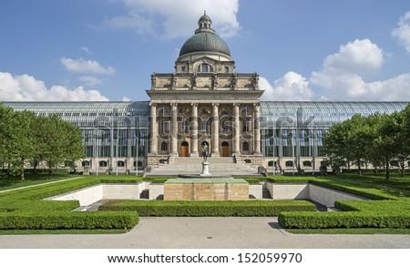 "The historic state chancellery ""Bayerische Staatskanzlei"" of Munich in Bavaria - stock photo"