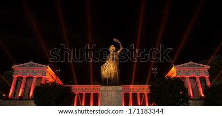 """The historic temple """"Ruhmeshalle"""" and the statue """"Bavaria"""" of Munich in Bavaria at night - stock photo"""