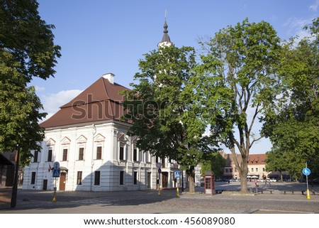 The historic Town Hall Square of Kaunas city (Lithuania). - stock photo