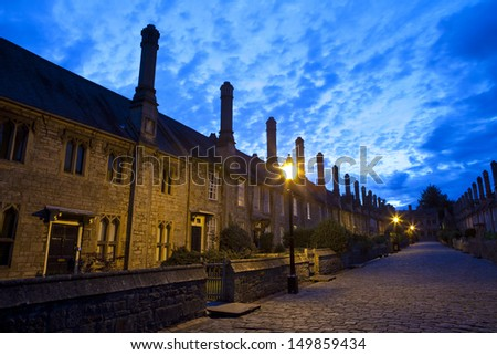 The historic Vicars' Close at dusk - in Wells, Somerset.