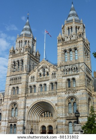 The historic waterhouse building in Kensington in London  accommodating the natural history museum - stock photo