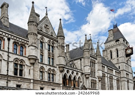 The historical building of Royal Courts of Justice in London, England - stock photo