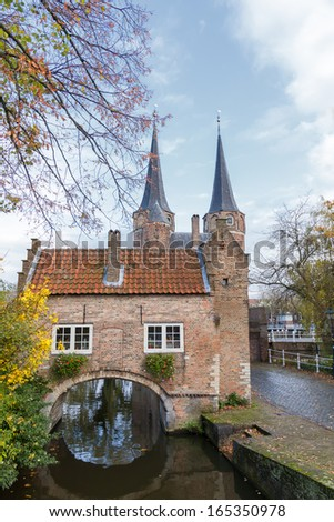 The historical east gate in autumn Delft in the Netherlands