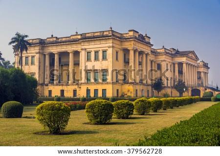 The historical famous Hazarduari Palace museum in Murshidabad, West Bengal, India. - stock photo