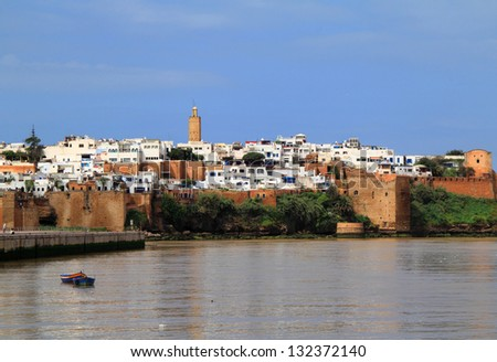The historical Medina of the city of Rabat, capital of Morocco, viewed from the river.