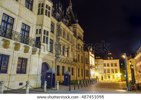 The historical Palais Grand Ducal of Luxembourg at night