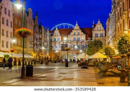 The historical part of Gdansk in night light. - stock photo