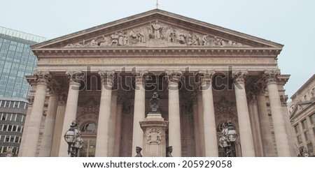 The historical Royal Stock Exchange building, London, UK