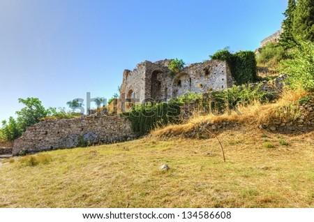The historical site of Mystras, a Byzantine castle in Greece. - stock photo