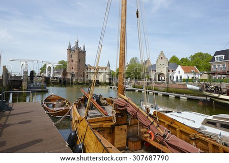 The historical town of Zierikzee in the province of Zeeland, the Netherlands - stock photo