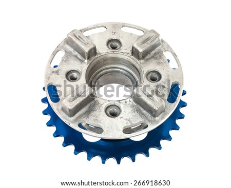 The hob and sprocket of motorcycle isolated on white - stock photo