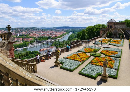 The Hofgarten at the Marienberg fortress in Wurzburg, Germany - stock photo