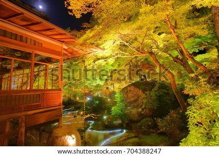 The Hogonin Temple(Tenryuji Temple appertain) garden.Autumn maple leaves illumination during the moon rising on November, Kyoto, Japan.