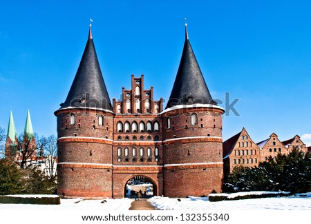 The Holstentor, famous landmark in Luebeck in North Germany - stock photo