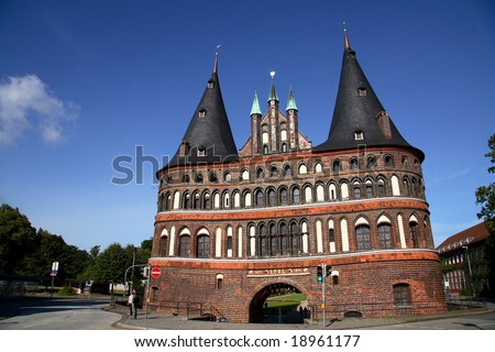 the holstentor in Lubeck - stock photo