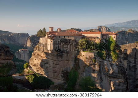 The Holy Monastery of Varlaam in Meteora - complex of Eastern Orthodox monasteries at sunrise, Greece