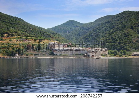 The Holy Monastery of Xenophontos on Athos, Greece.