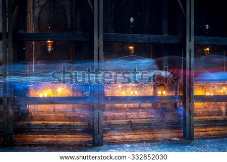 The Holy Sepulchre Church in the Old City of Jerusalem. Tomb of Jesus . - stock photo