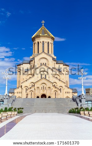 The Holy Trinity Cathedral commonly known as Sameba is the main Georgian Orthodox Christian cathedral, located in Tbilisi, the capital of Georgia - stock photo