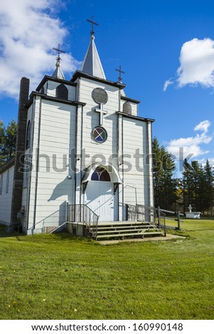 The Holy Trinity Romanian Orthodox Church located in the quiet back roads on the prairies of Canada.