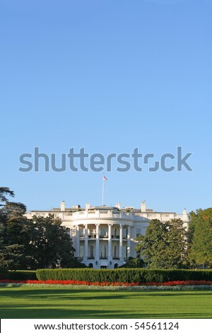 The home of the United States President, the White House, South lawn. - stock photo