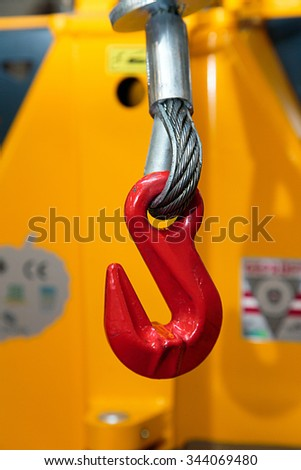 The hook of the loading machine - stock photo