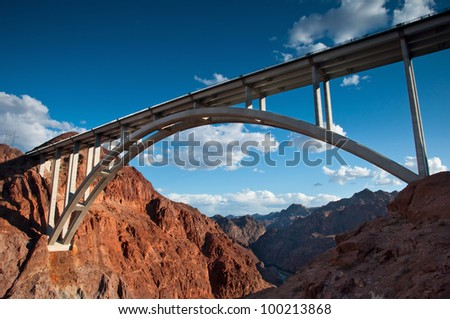 The Hoover Bridge from the Hoover Dam, Nevada. - stock photo