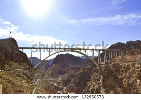 The Hoover Bridge from the Hoover Dam, Nevada. USA