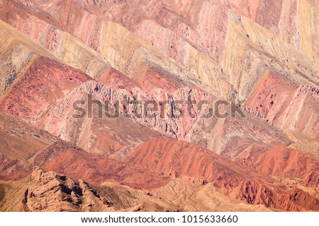 The Hornocal, the mountain of the 14 colours in the north west of Argentina. Humahuaca village