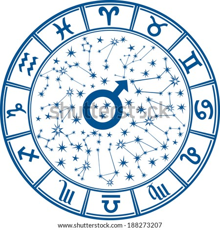 The Horoscope circle with  Zodiac signs and constellations of the zodiac.Inside the symbol of the male sign.Mans Horoscope, illustration