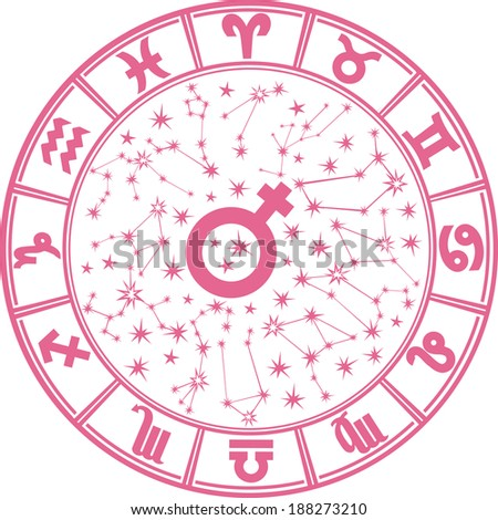 The Horoscope circle with  Zodiac signs and constellations of the zodiac.Inside the symbol of the male sign.Womans Horoscope, illustration