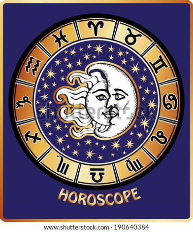 The Horoscope circle with  Zodiac signs ,stars and symbol of the sun and moon.Retro style. Illustration - stock photo