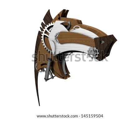 The horse's head made ??of wood and metal