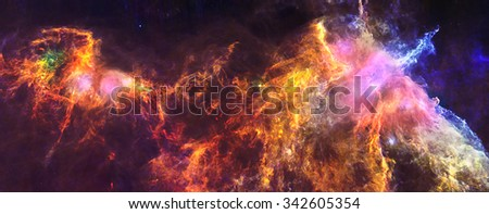 The Horsehead Nebula resides in the constellation Orion, about 1300 light-years away, and is part of the vast Orion Molecular Cloud complex. Retouched image. Elements of this image furnished by NASA. - stock photo