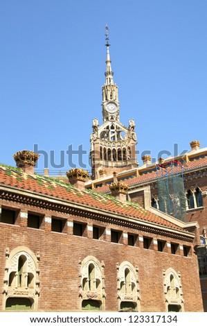 The Hospital de la Santa Creu i Sant Pau is a hospital in Barcelona built in the art nouveau style. The Hospital de la Santa Creu is world cultural heritage of UNESCO - stock photo