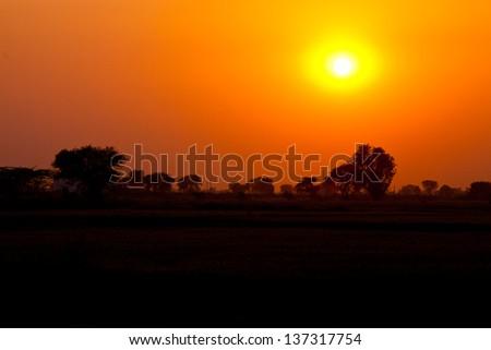 The hot glowing sun set - stock photo