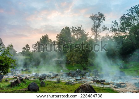 The hot spring at Chae Son National Park in Lampang province, Thailand - stock photo