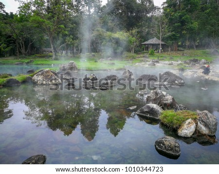 The hot springs in the nationalpark of Chae Son in Thailand