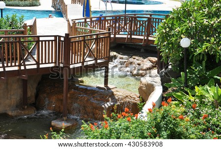 the hotel grounds in Cyprus, the plants and the waterfall - stock photo